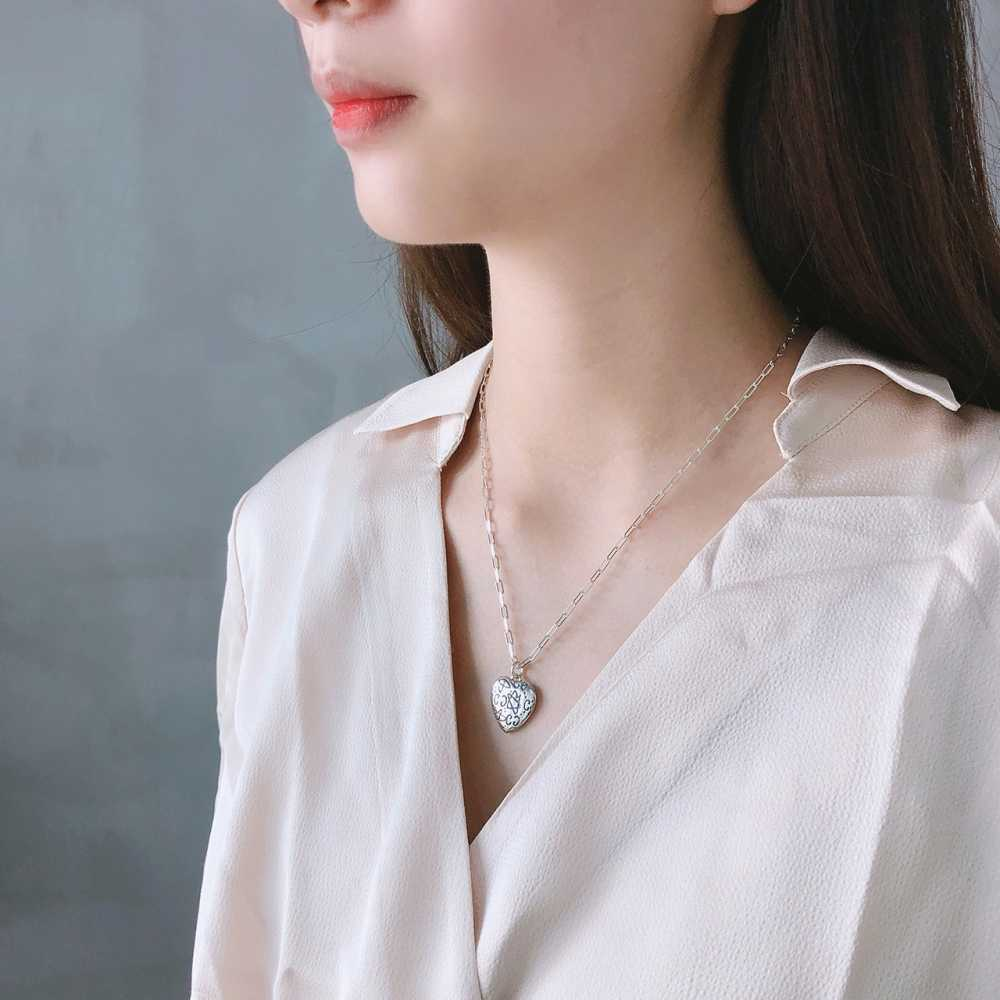 2019 Vintage Thai 925 Sterling Silver Love Heart Star Necklace Minimalist European Design Sweater Necklaces for Womens Girls