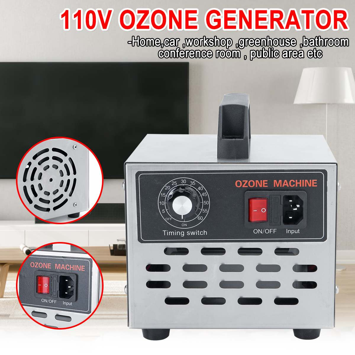 High Quality 10000mg/h 110V Ozone Generator Dual Life Long Air Purifiers Oil Vegetable Meat Fresh Purify Air Water