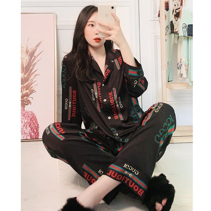 2020 Pajamas Female Summer Red Explosion Big Satin Long Sleeves Two-Piece Suit Pyjamas Women Sleepwear Pijama Mujer