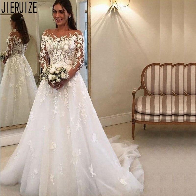 JIERUIZE New Tulle Boho Wedding Dresses Long Sleeve Scoop Neck Lace Appliques Button Back A Line Bridal Gown Vestido De Noiva