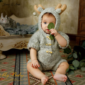 Image 4 - Jane Z Ann 3 6 month baby photo costume  infant handmade knitted bear bunny clothes Oil painting series theme studio accessories
