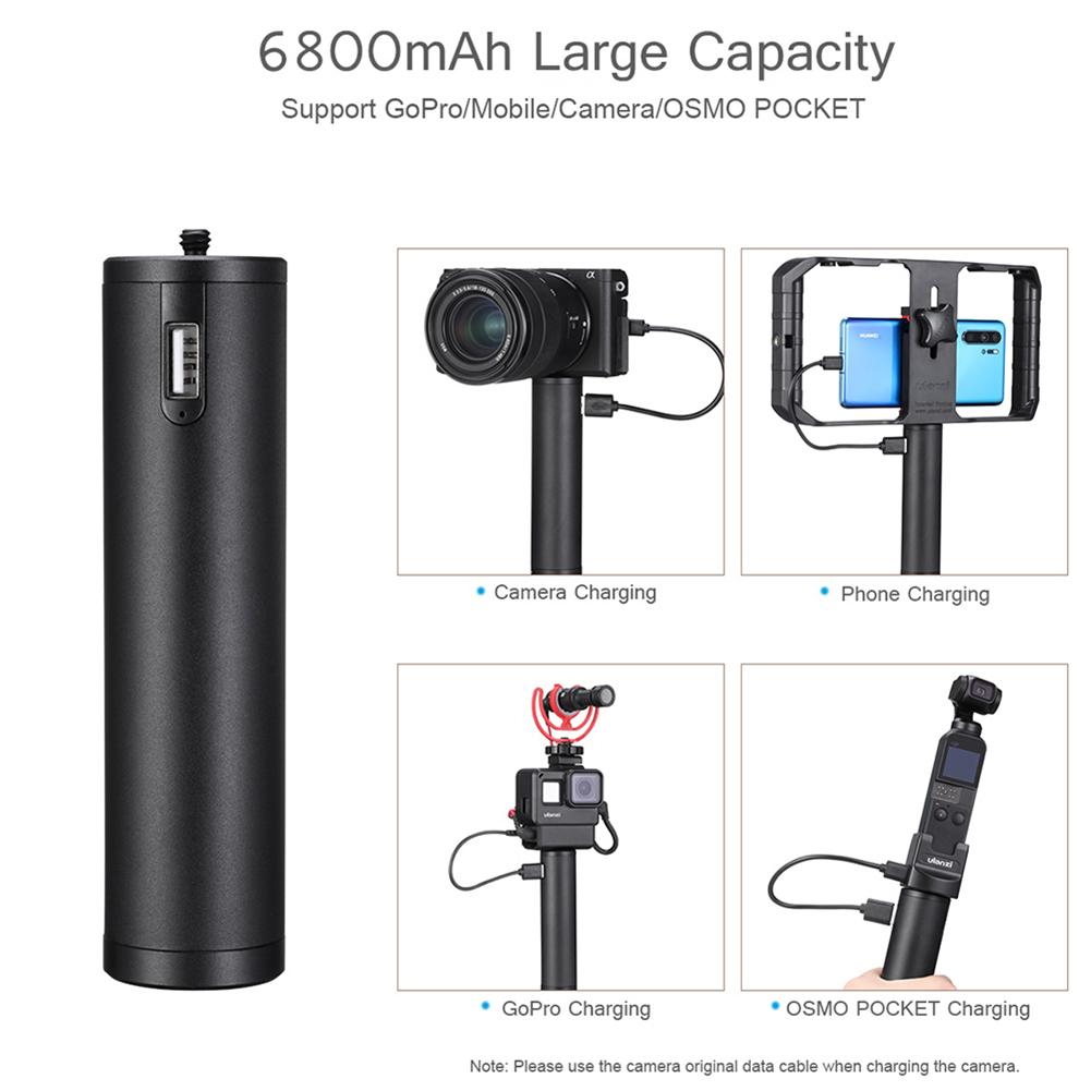 6800mAh Power Bank Hand Grip Outdoor Shooting Mobile Power Source Portable Handle For Gopro8/DJI Osmo ACtion-3