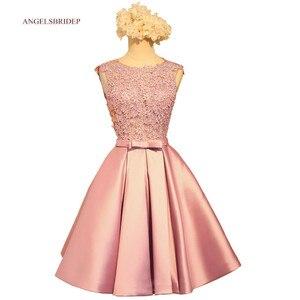 ANGELSBRIDEP Sheer neck Short Homecoming Dresses Applique Sash Vestidos de festa Special Occasion Junior Graduation Gowns