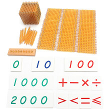 Boressori materiais, miçangas de matemática, brinquedo, ouro, símbolos com bandejas, jogo de decibéis, aprendizagem para presente escolar