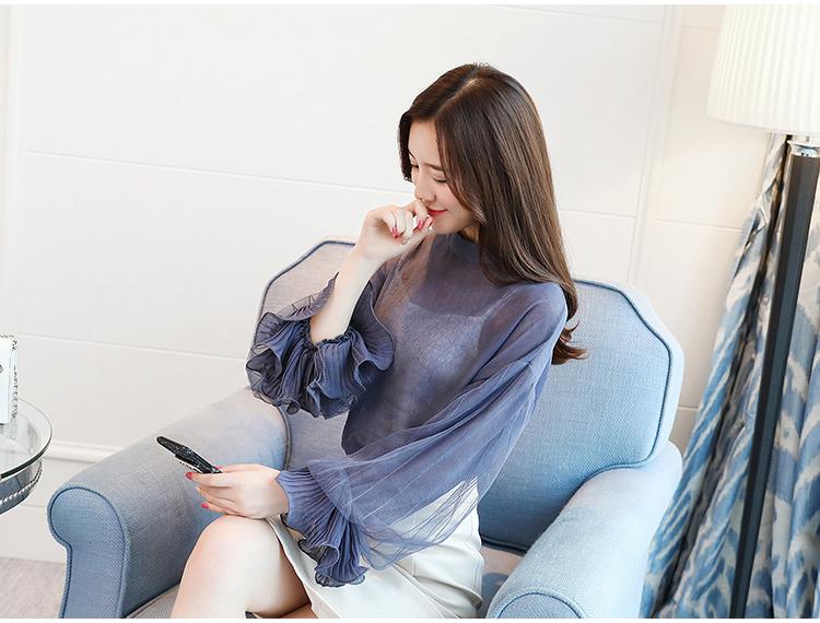 2019 Women tops and Blouses ruffless Summer autumn Long Sleeve White Shirt Casual Female Chiffon Blouse Women Clothing plus size 35