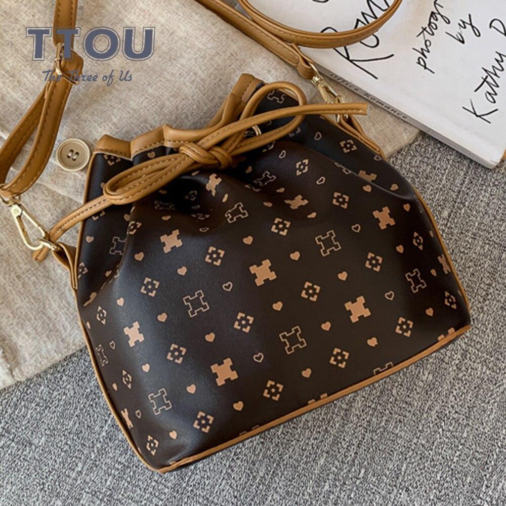 Vintage Design Drawstring Women Bucket Bag Casual Drawstring Female Shoulder Bag Fashion Ladies Office Printed Tote Handbags
