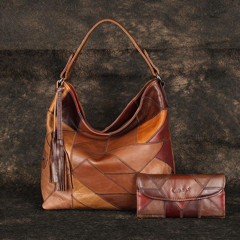 Женские сумочки из натуральной кожи с кисточками, комплект 2 предметов с дамским клатчем, винтажная сумка на плечо, большие и дизайнерские к...