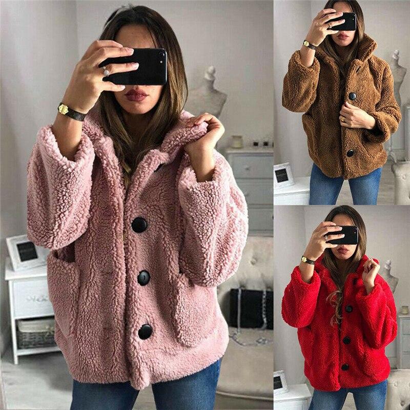 Womens Teddy Bear Fluffy Fleece Fur Jacket Coat Ladies Winter Warm Outwear Casual Button Cardigan Tops