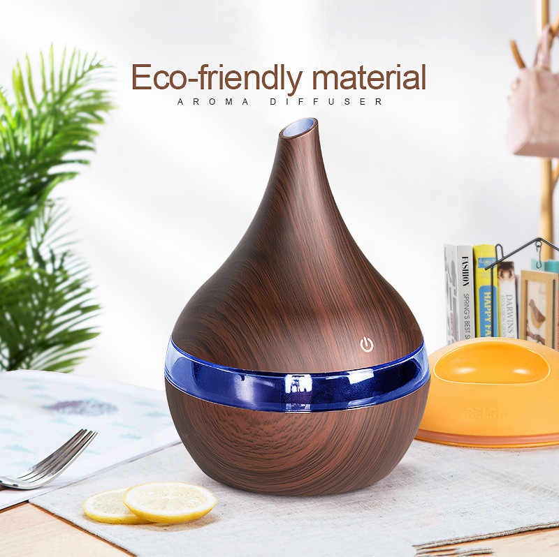 300ml USB AROMA Air diffuser ไม้ Ultrasonic Air Humidifier น้ำมันหอมระเหยน้ำมันหอมระเหย Cool Mist Maker สำหรับ Home Spa