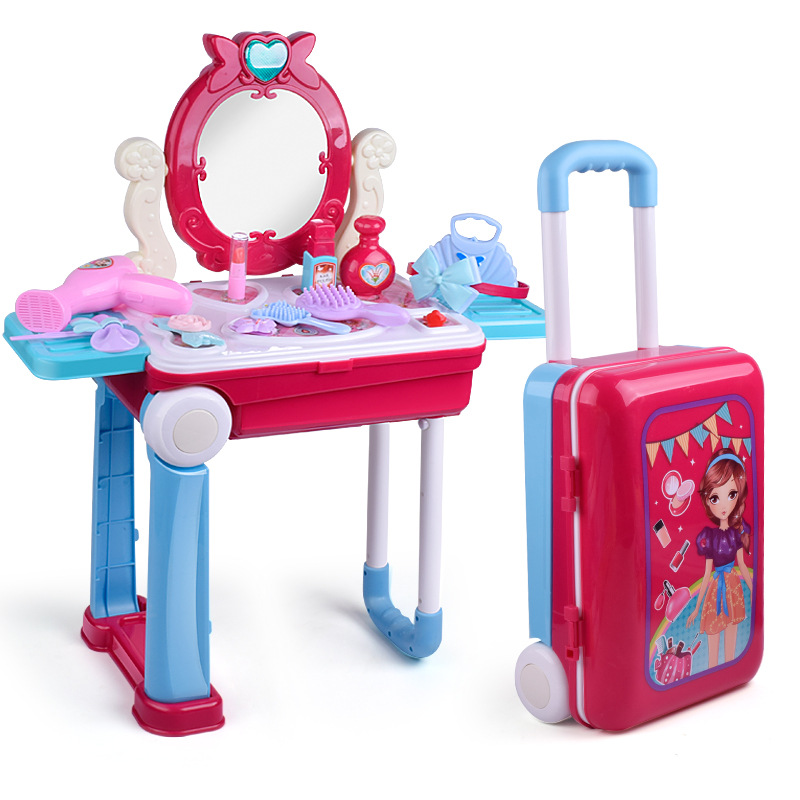 Girls Make Up Luggage Kids Dress Up Cosmetic Playset Dresser Table Suit Comb Ring Lipstick Headwire Perfume Toys Handcase