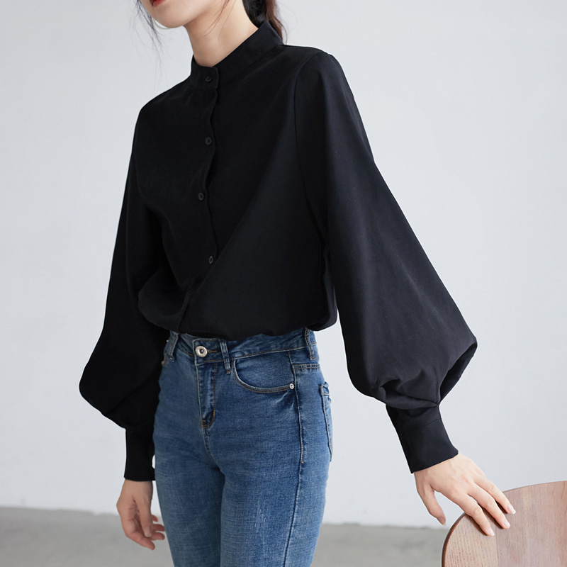 Big Lantern Sleeve Blouse Women Autumn Winter Single Breasted Stand Collar Shirts Office Work Blouse Solid Vintage Blouse Shirts(China)