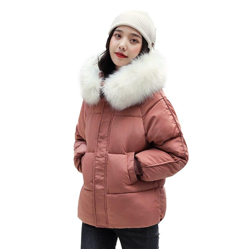 Chic Short Fur Collar Bakery Winter Down Coat Women Oversize Jacket Thick Warm Cotton Padded Wadded Parkas Big Pocket