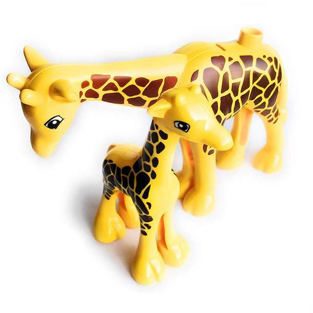 Duploe Big Size Diy Building Blocks Animal Accessories Figures Lion Panda Compatible with Duploed Toys for Children Kids Gifts 5