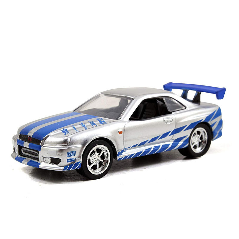 1/55 Fast And Furious Cars Brian's Nissan Skyline GTR R34 Simulation Metal Diecast Model Cars Kids Toys