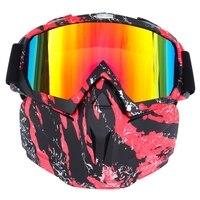 Gafas de moto  gafas desmontables a prueba de viento con máscara para montar  esquiar  motonieve  ciclismo  Halloween