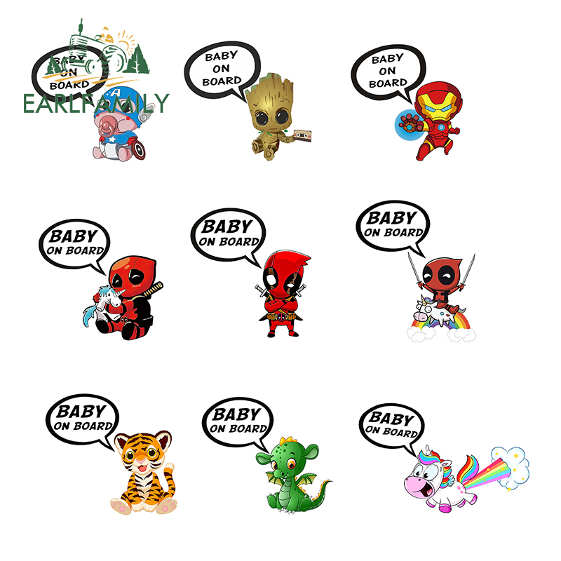 EARLFAMILY 13cm For Baby on board DeadPool Car Stickers And Decal Occlusion Scratch Waterproof Vinyl 3D DIY Sticker