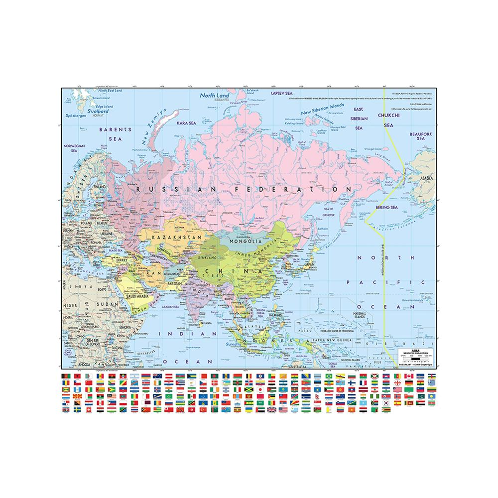 Mercator Projection Detailed Map Of Asia With National Flag 90x90cm Non-woven Waterproof Map