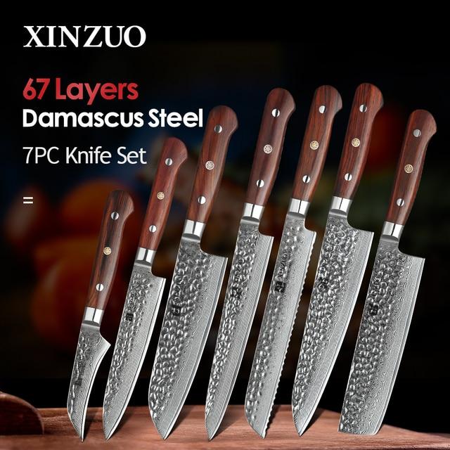 XINZUO Juego de cuchillos de acero damasco Juego de Cuchillos de Cocina, 7 Uds., utensilios de cocina para pelar, Chef Santoku, mango de palisandro para Cocina