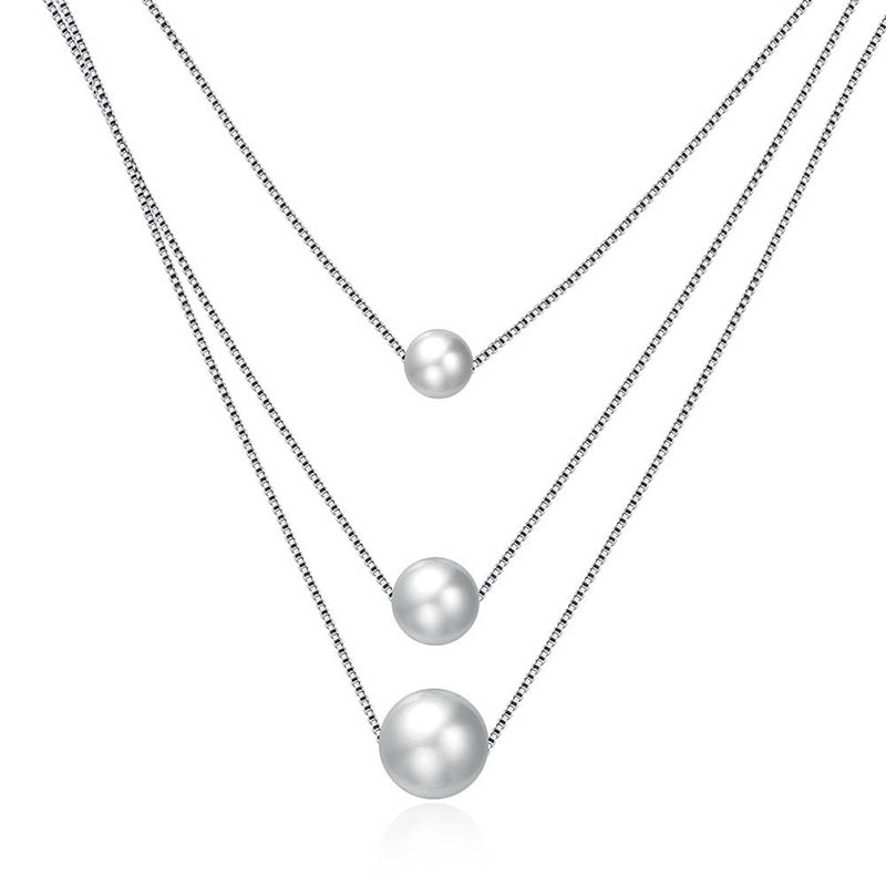 Fashion Trendy Freshwater Pearl 3 Rows Layer Necklaces For Women Statement Real 925 Sterling Silver Chain Necklace Jewelry