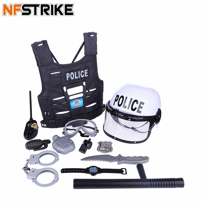 8pcs/9pcs/11Pcs Children Pretend Play Toy Set Simulation Policeman Role Play Kits Occupations Toys For Boys Kids Playing Set