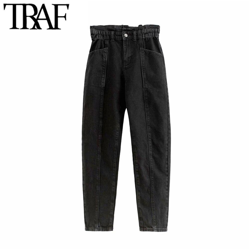 TRAF Women Vintage Chic Pockets High Waisted Jeans Zipper Fly Paperbag Elastic Waist Female Denim Pants Pantalones Mujer
