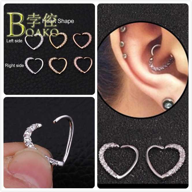 หัวใจหูต่างหูผู้หญิง Punk Zircon ต่างหู Gothic Girl หูกระดูกอ่อนแหวน Piercing Body เครื่องประดับ B5