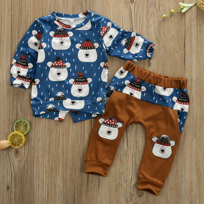 Toddler Baby Boys Clothes Bear Long Sleeve Tops T-shirt Pants Spring Outfits