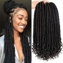 Kong&Li Goddess Focs Locs Curly Crochet Faux braids Hair Extensions 18 inch 24 strands/pcs Synthetic Ombre Crochet Braids hair