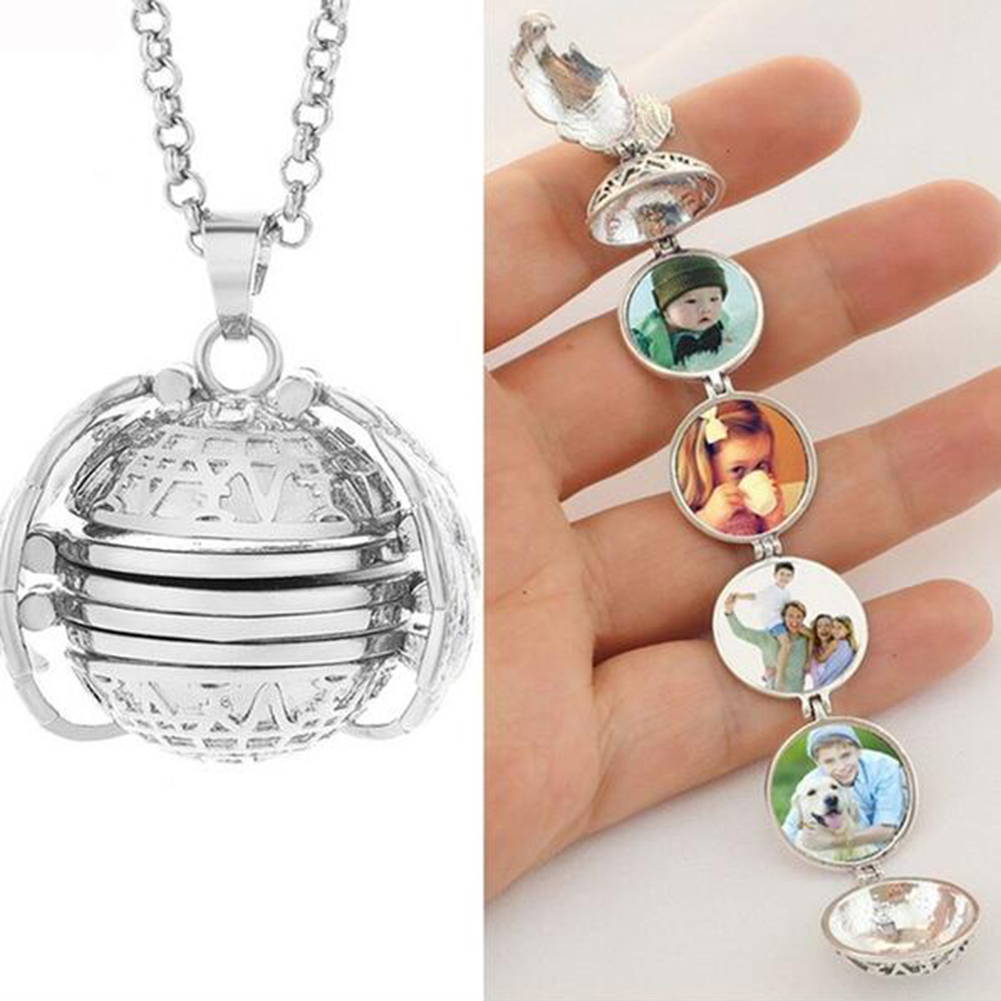 Magic Expanding Photos A Pendant Trendy Land Pendant Memorable Necklace With A Medallion Angel Wings NecklaceLong Harmony Ball