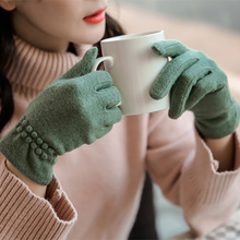 цены Female Gloves Winter Mittens for Women Wool Ladies Knitted Cashmere Wrist Luva Hand Car Driving Gloves Guantes Touch Screen