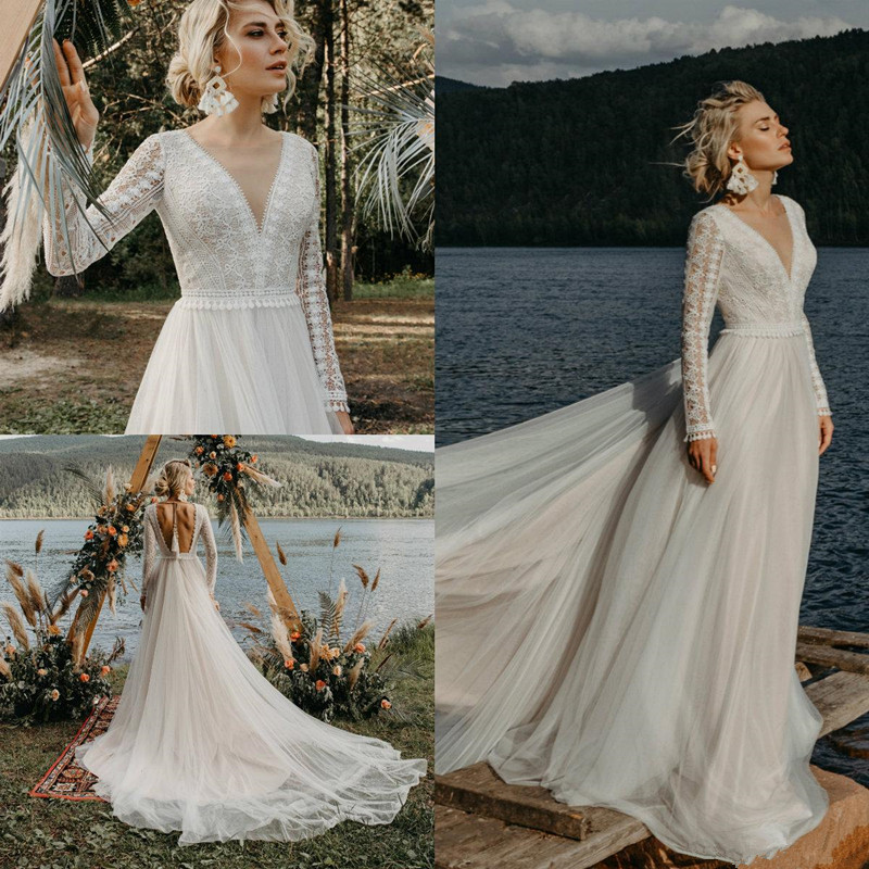 Modern Bohemian Wedding Dresses 2020 Backless Lace Top Long Sleeve Fairy Tulle Skirt Holiday Beach Country Bride Wedding Dress