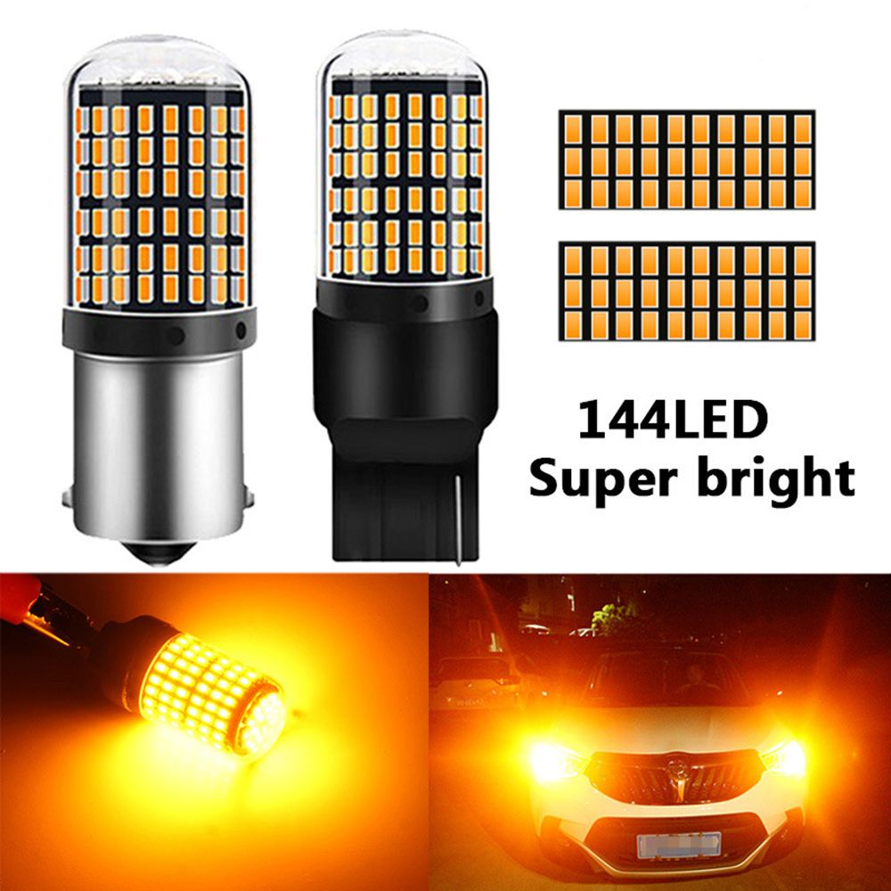 1 Pc High Quality 1156 7440 LED Car Signal Bulbs T20 BA15S Light 3014 144smd Lamp Rear Amber Yellow Brake No Flash Auto Lights Signal Lamp  - AliExpress