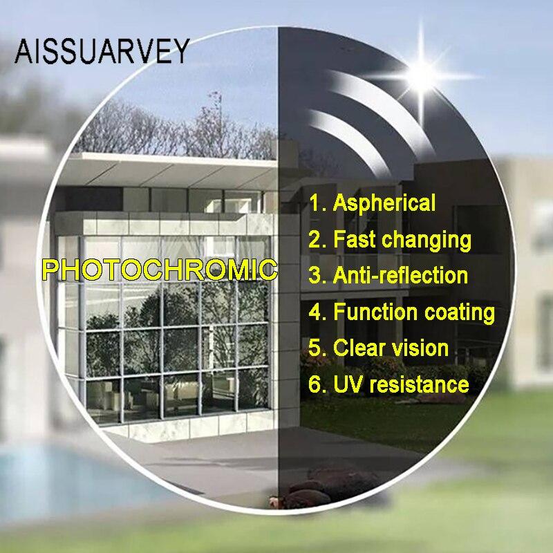 1.56 1.61 1.67 1.74 Aspherical Progressive Photochromic Optical Lenses Gray Prescription Multifocal Glasses Lens Driving UV400 - 3