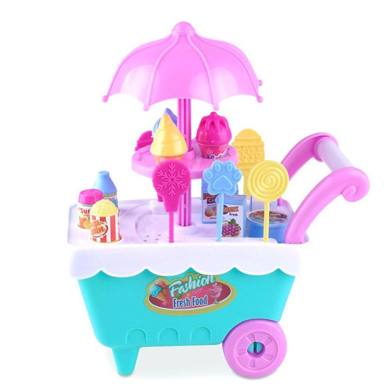 Pretend To Play Mini Ice Cream Candy Cart House Educational Toy Super Mini Icecream Car Toys Kitchen Toys For Children