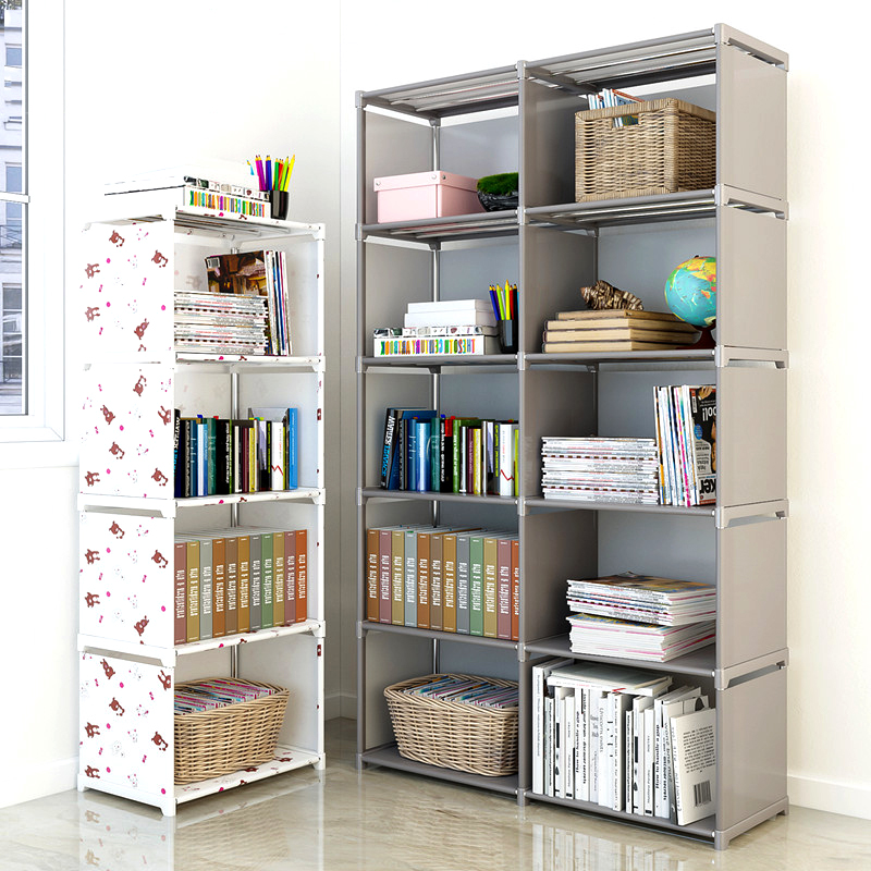 Assemble Bookshelf Non-woven Fabric Storage Rack Removable Book Shelf Stand Holder Bookcase Furniture Organizer Shelf for Home