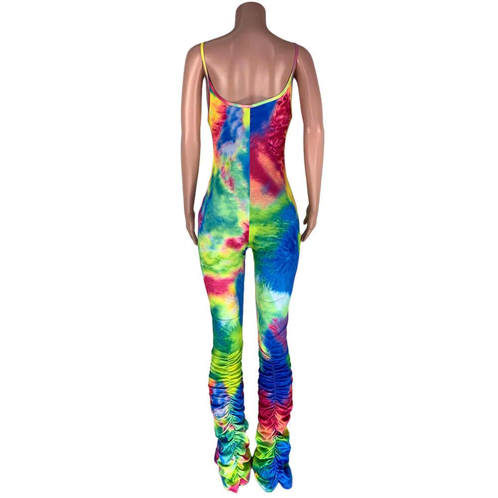 Женские плиссированные брюки с разноцветными принтами и манжетами, повседневные модные комбинезоны на бретельках, эластичные комбинезоны размера плюс
