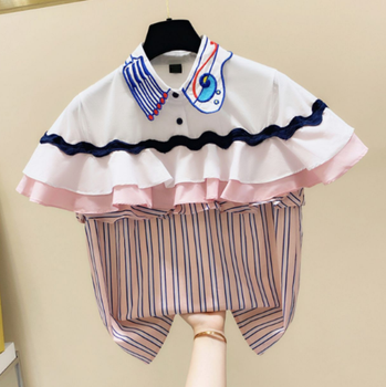 Striped Ruffles Embroidered Color Matching Short Sleeve Shirt Women's 2020 Summer Korean-Style Top Fashion Blouse Blusas Mujer embroidered striped sleeve tee