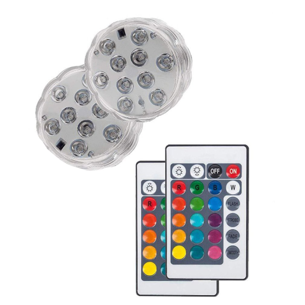 ICOCO Submersible Led Lights Waterproof Light Multi Color Battery Operated Remote Control Wireless Reusable Light For Party