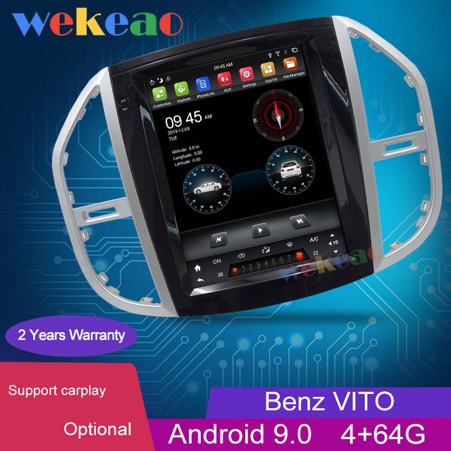 Wekeao Vertical Screen Tesla Style 12.1 Android 9.0 Car Dvd Multimedia Player For Mercedes Benz Vito Car DVD Player 4G 2016+