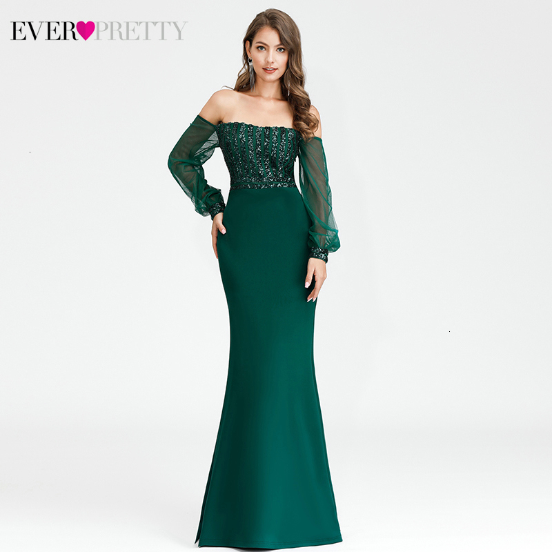 Sexy Mermaid Prom Dresses Ever Pretty Sequined Off Shoulder Tulle Full Sleeve Ladies Evening Party Gowns Vesti Longo Formatura