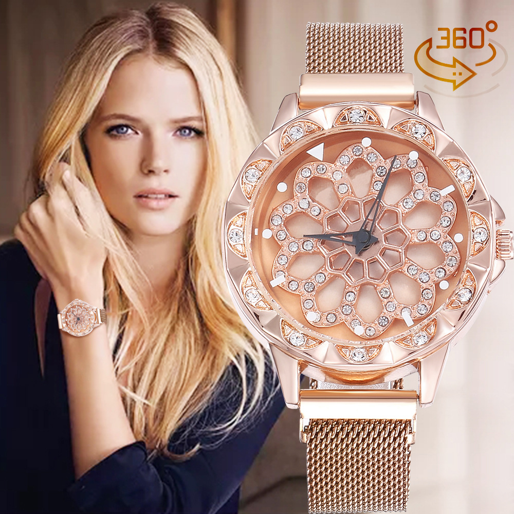 Luxury Rose Gold Watch Women Special Design 360 Degrees Rotation Diamond Dial Watches Mesh Magnet Starry Sky Ladies Watch Quartz