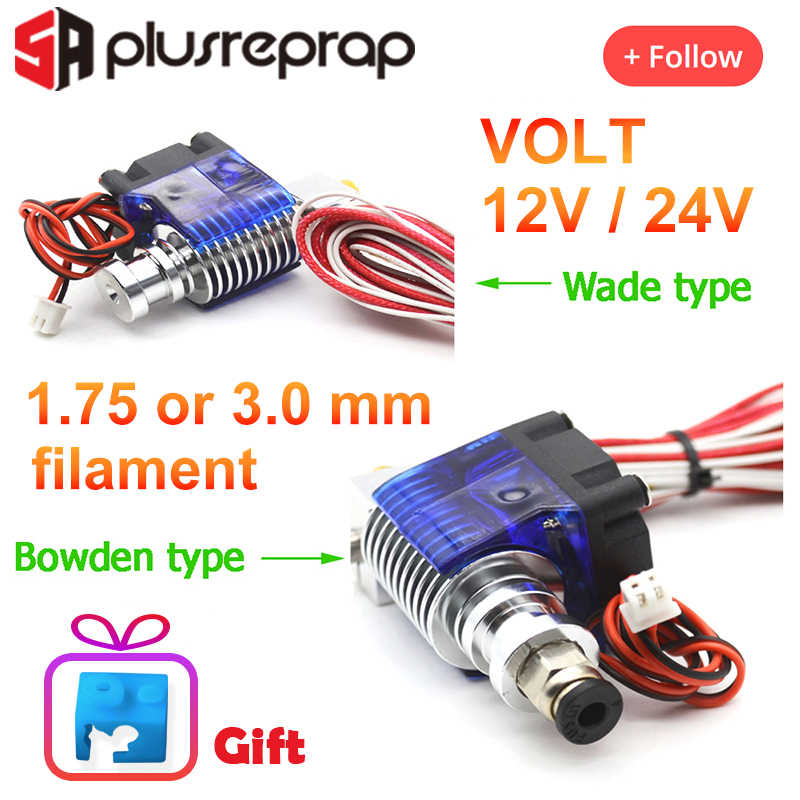 V6 J-Head 12V 24V Alle Metalen Hotend Wade Of Bowden Extruder Heater Thermistor Fan Nozzle Warmte sink Voor 1.75/3 Mm 3D Printer Deel