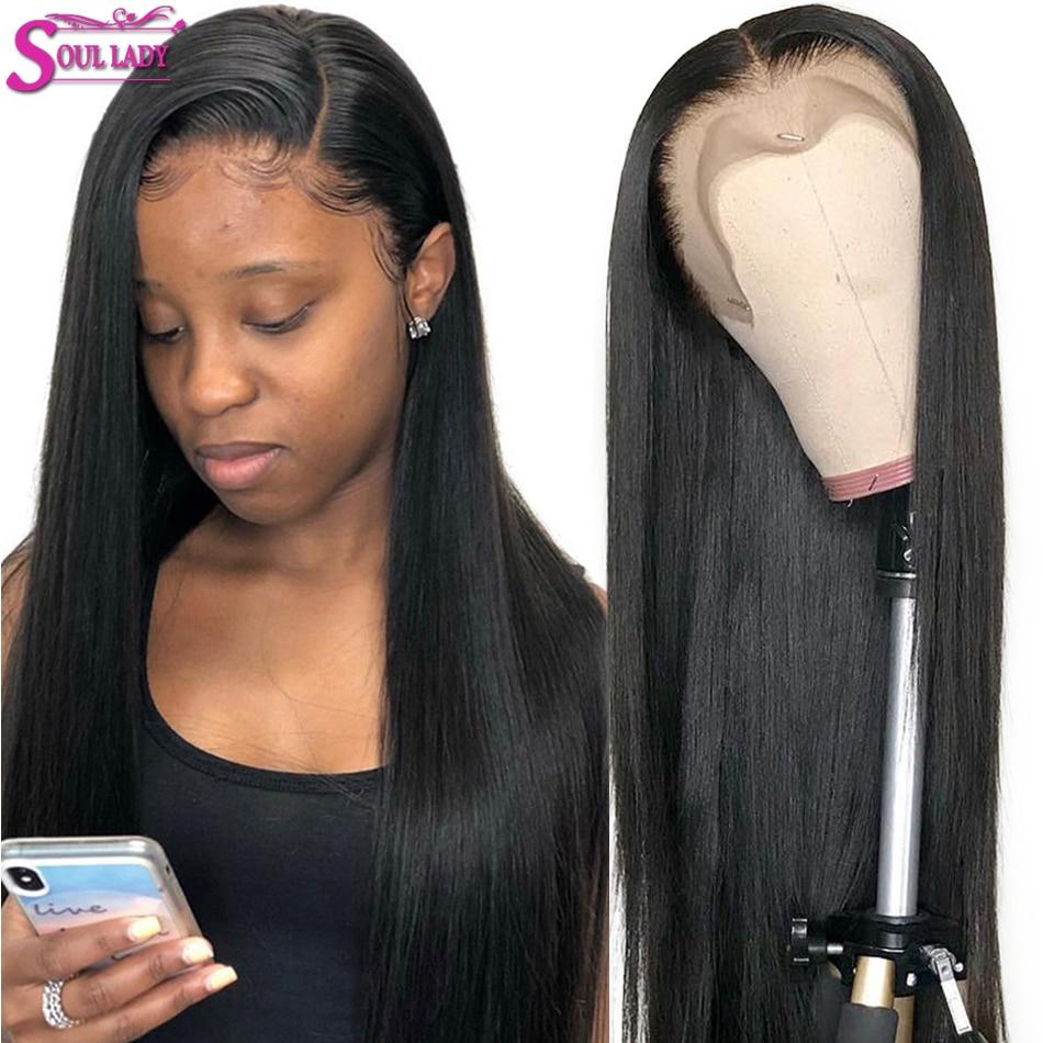 HD прозрачный Синтетические волосы на кружеве парики из натуральных волос для Для женщин бразильские волосы прямые Синтетические волосы на кружеве парики 13x4 предщипанный бесклеевой парик шнурка - 6