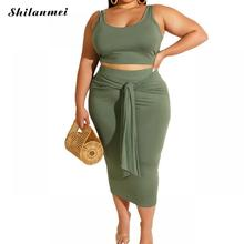 Plus Size Two Pieces Dress Sets Women 2019 Sleeveless Crop Tops Boydcon Long Dress 4XL 5XL 2 Piece Sets Big Size Bandage Dress plus size fitted two tone dress