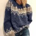 Осенний вязаный свитер с круглым вырезом, женские винтажные пуловеры в стиле пэчворк с длинным рукавом, Женский Свитер оверсайз, свободные ...