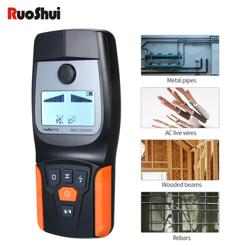 RuoShui 518 Wall Scanner Metal Detector Find Metal Wood Studs Multifunction AC Cable Live Wire Scanner Warning gold detector