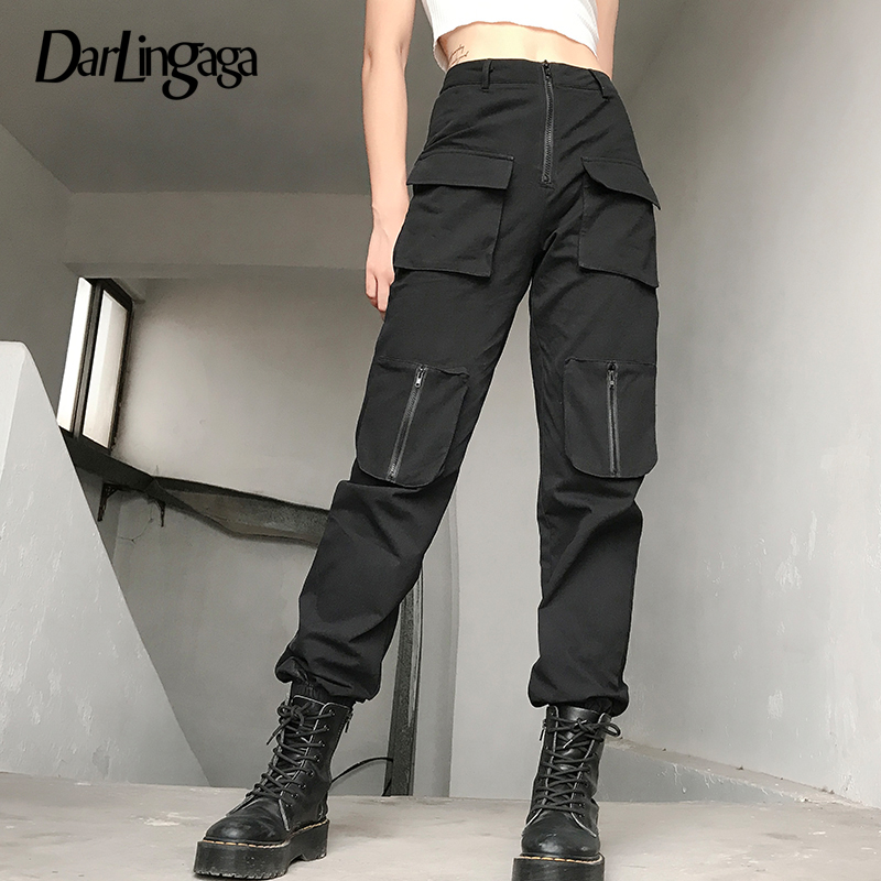 Darlingaga Streetwear Black Solid Cargo Pants Women Zipper Pockets Women's Trousers Slim High Waist Pants Pantalon Femme Capris