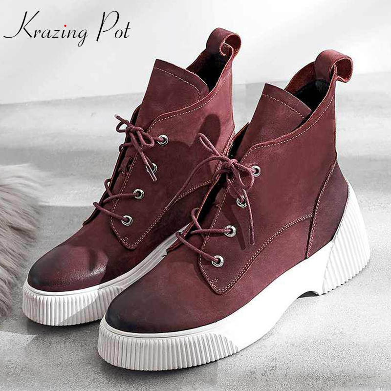 krazing pot cow suede waterproof lace up leisure white bottom med heels comfortable ankle boots superstar motorcycle boots l82