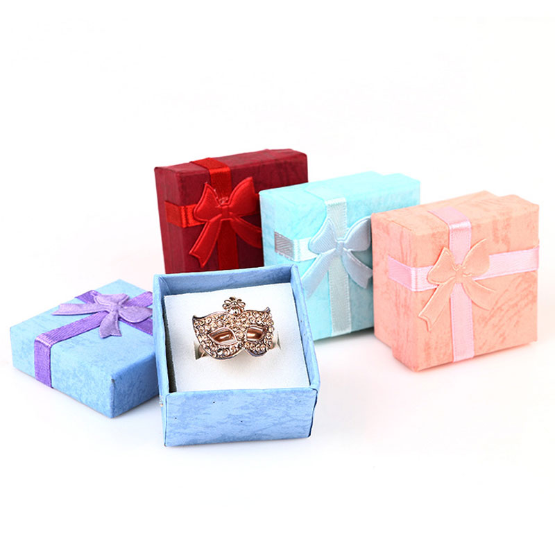 Fashion Gift Box Candy Color Small Ring Box Small Jewelry Gift Box Bowsknot Jewelry Box Creative Simple Style Jewelry Box