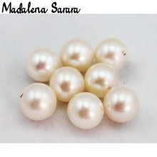 MADALENA SARARA A + ไข่มุกน้ำจืดสีขาวธรรมชาติความสว่าง Luxury Pearl ลูกปัดสำหรับ DIY